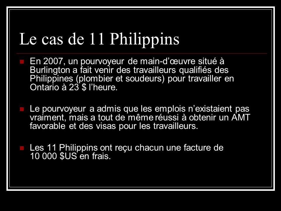 Le cas de 11 Philippins En 2007, un pourvoyeur de main-dœuvre situé à Burlington a fait venir des travailleurs qualifiés des Philippines (plombier et soudeurs) pour travailler en Ontario à 23 $ lheure.