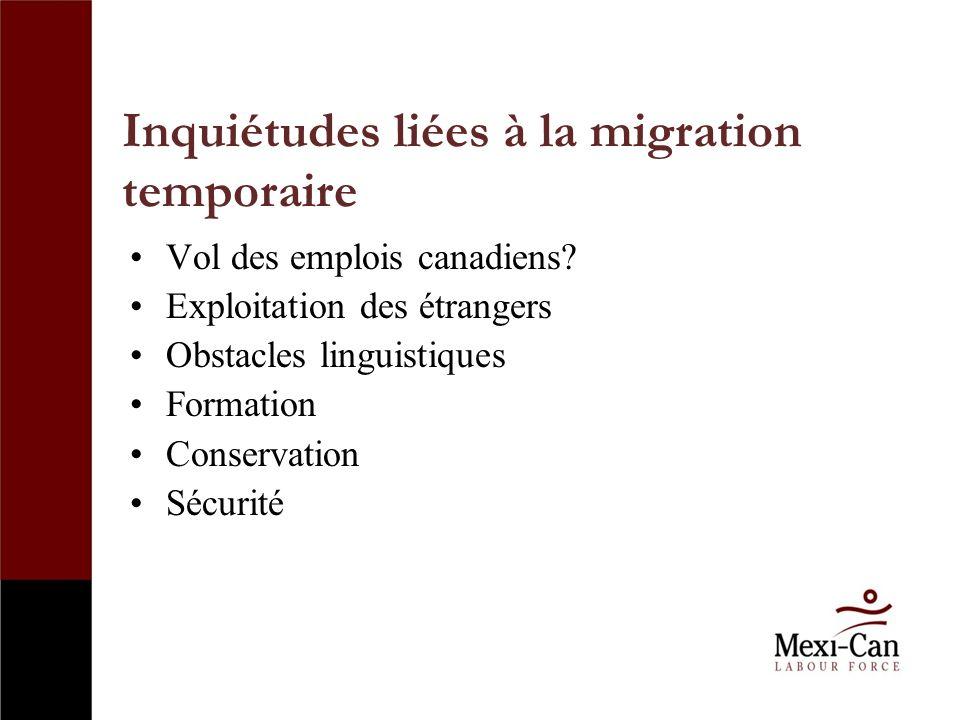 Inquiétudes liées à la migration temporaire Vol des emplois canadiens.