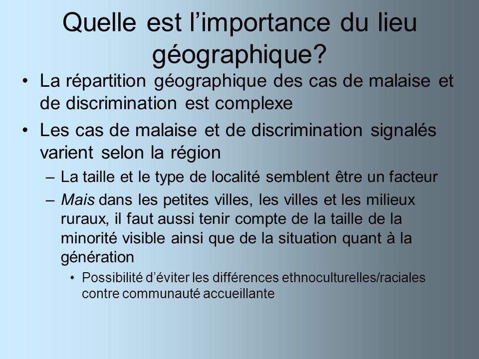 Quelle est limportance du lieu géographique? La répartition géographique des cas de malaise et de discrimination est complexe Les cas de malaise et de