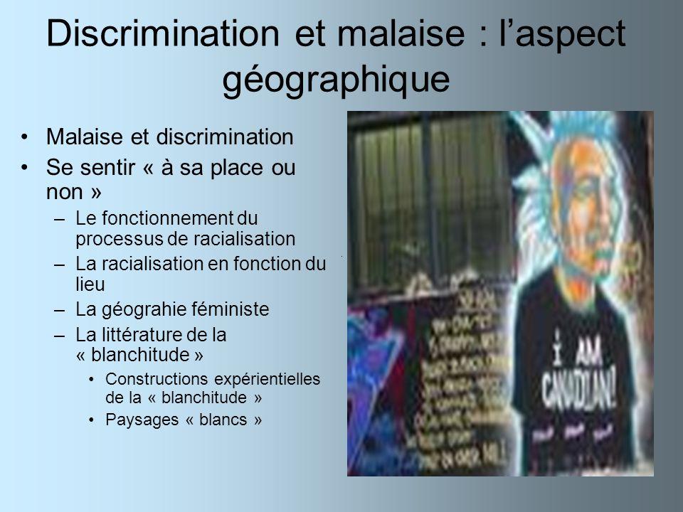 Discrimination et malaise : laspect géographique Malaise et discrimination Se sentir « à sa place ou non » –Le fonctionnement du processus de racialis