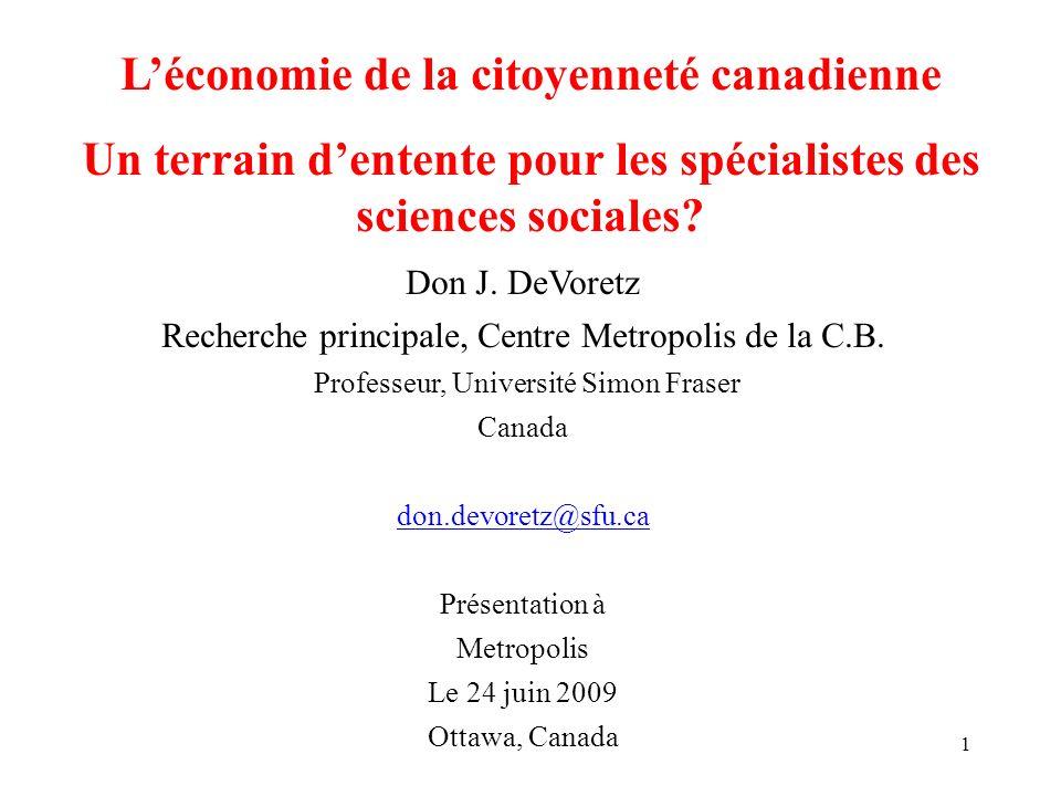 1 Léconomie de la citoyenneté canadienne Un terrain dentente pour les spécialistes des sciences sociales? Don J. DeVoretz Recherche principale, Centre