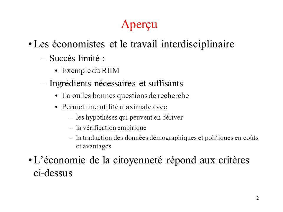 2 Aperçu Les économistes et le travail interdisciplinaire –Succès limité : Exemple du RIIM –Ingrédients nécessaires et suffisants La ou les bonnes que