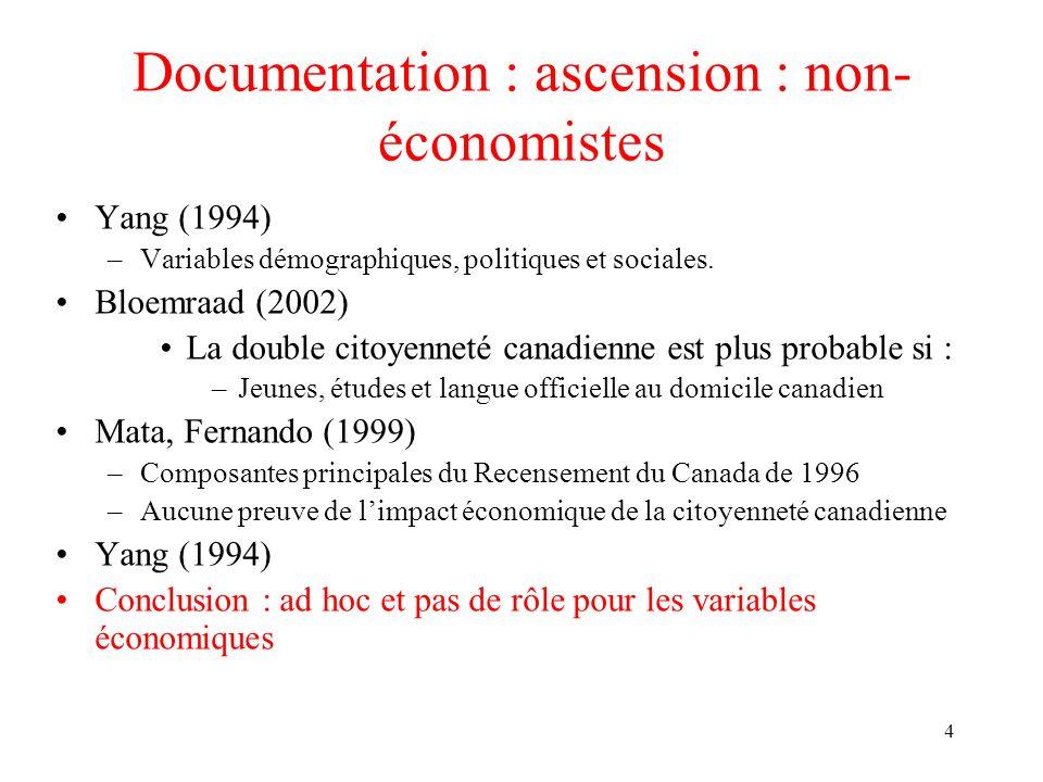 4 Documentation : ascension : non économistes Yang (1994) –Variables démographiques, politiques et sociales. Bloemraad (2002) La double citoyenneté c
