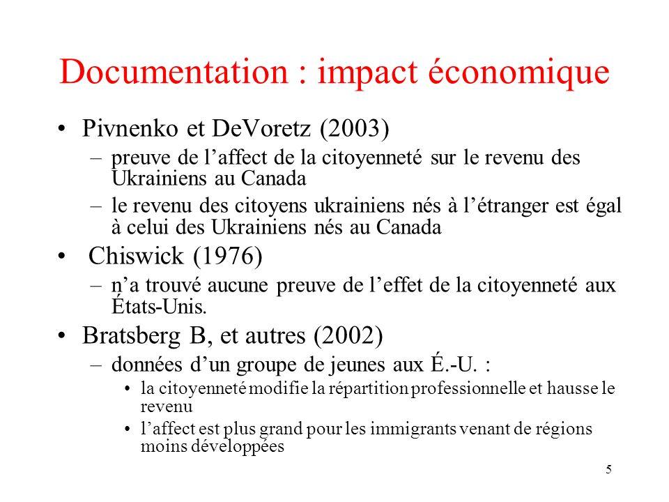 5 Documentation : impact économique Pivnenko et DeVoretz (2003) –preuve de laffect de la citoyenneté sur le revenu des Ukrainiens au Canada –le revenu des citoyens ukrainiens nés à létranger est égal à celui des Ukrainiens nés au Canada Chiswick (1976) –na trouvé aucune preuve de leffet de la citoyenneté aux États-Unis.