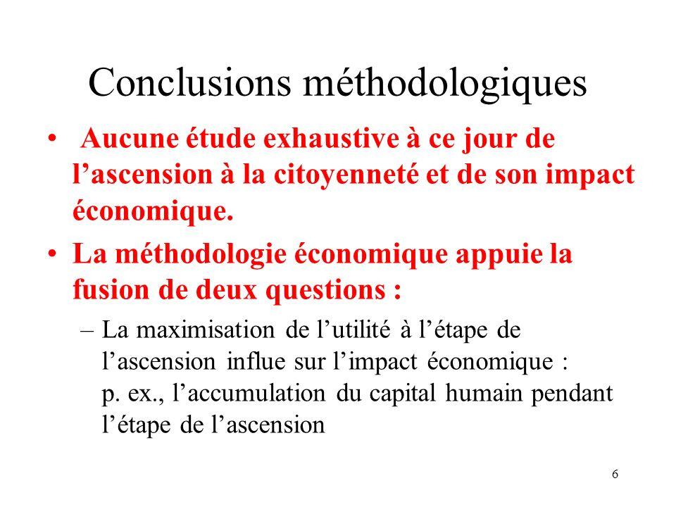 6 Conclusions méthodologiques Aucune étude exhaustive à ce jour de lascension à la citoyenneté et de son impact économique. La méthodologie économique