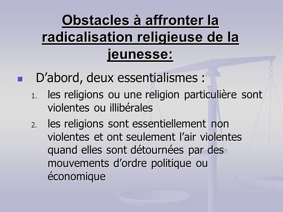 Obstacles à affronter la radicalisation religieuse de la jeunesse: Dabord, deux essentialismes : Dabord, deux essentialismes : 1. les religions ou une