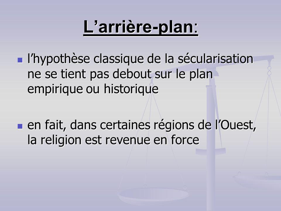 Larrière-plan: lhypothèse classique de la sécularisation ne se tient pas debout sur le plan empirique ou historique lhypothèse classique de la sécular