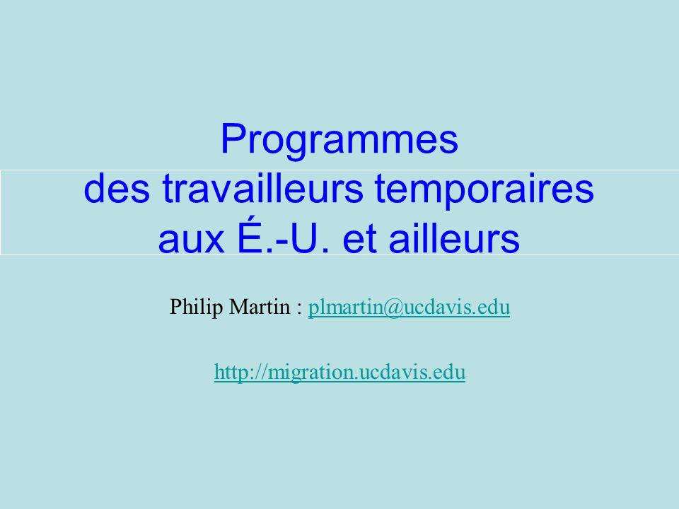 Philip Martin : plmartin@ucdavis.eduplmartin@ucdavis.edu http://migration.ucdavis.edu Programmes des travailleurs temporaires aux É.-U.