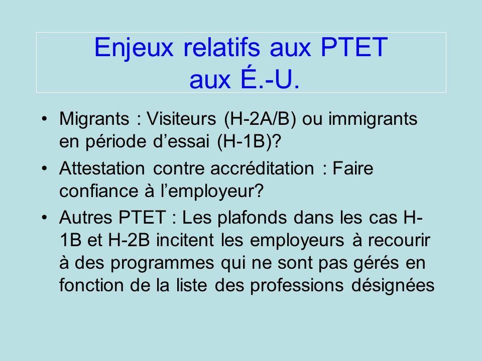 Enjeux relatifs aux PTET aux É.-U.