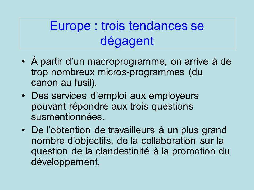 Europe : trois tendances se dégagent À partir dun macroprogramme, on arrive à de trop nombreux micros-programmes (du canon au fusil).