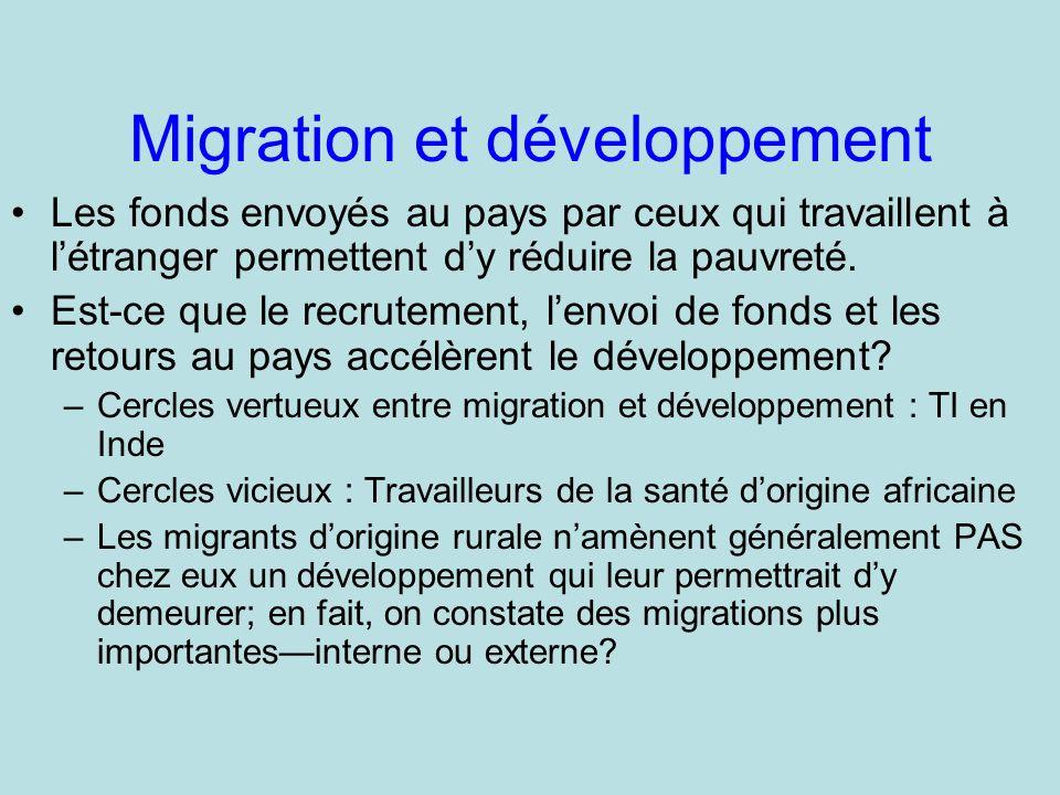 Migration et développement Les fonds envoyés au pays par ceux qui travaillent à létranger permettent dy réduire la pauvreté.
