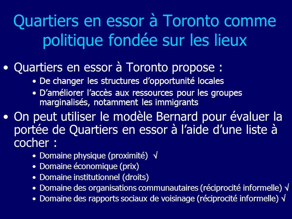 Quartiers en essor à Toronto comme politique fondée sur les lieux Quartiers en essor à Toronto propose : De changer les structures dopportunité locale