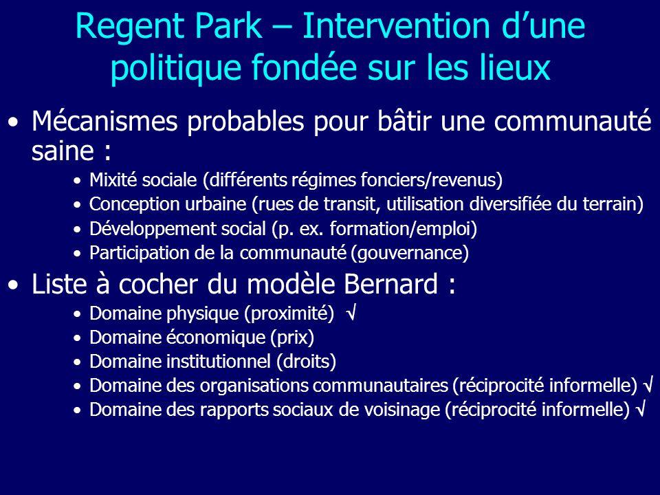 Regent Park – Intervention dune politique fondée sur les lieux Mécanismes probables pour bâtir une communauté saine : Mixité sociale (différents régim