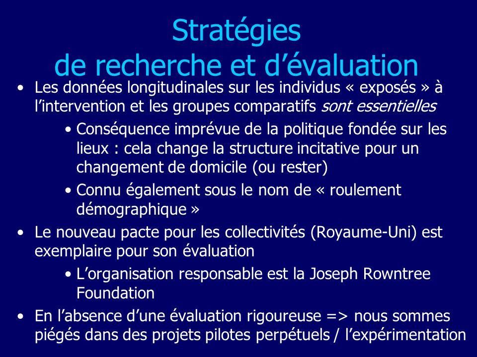 Stratégies de recherche et dévaluation Les données longitudinales sur les individus « exposés » à lintervention et les groupes comparatifs sont essent