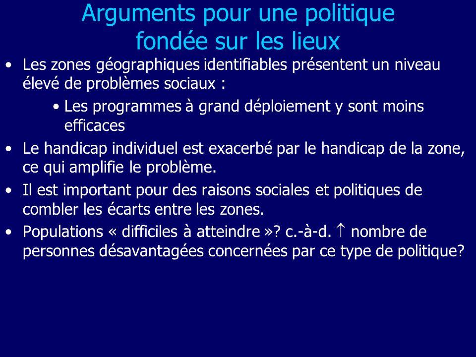 Arguments pour une politique fondée sur les lieux Les zones géographiques identifiables présentent un niveau élevé de problèmes sociaux : Les programm