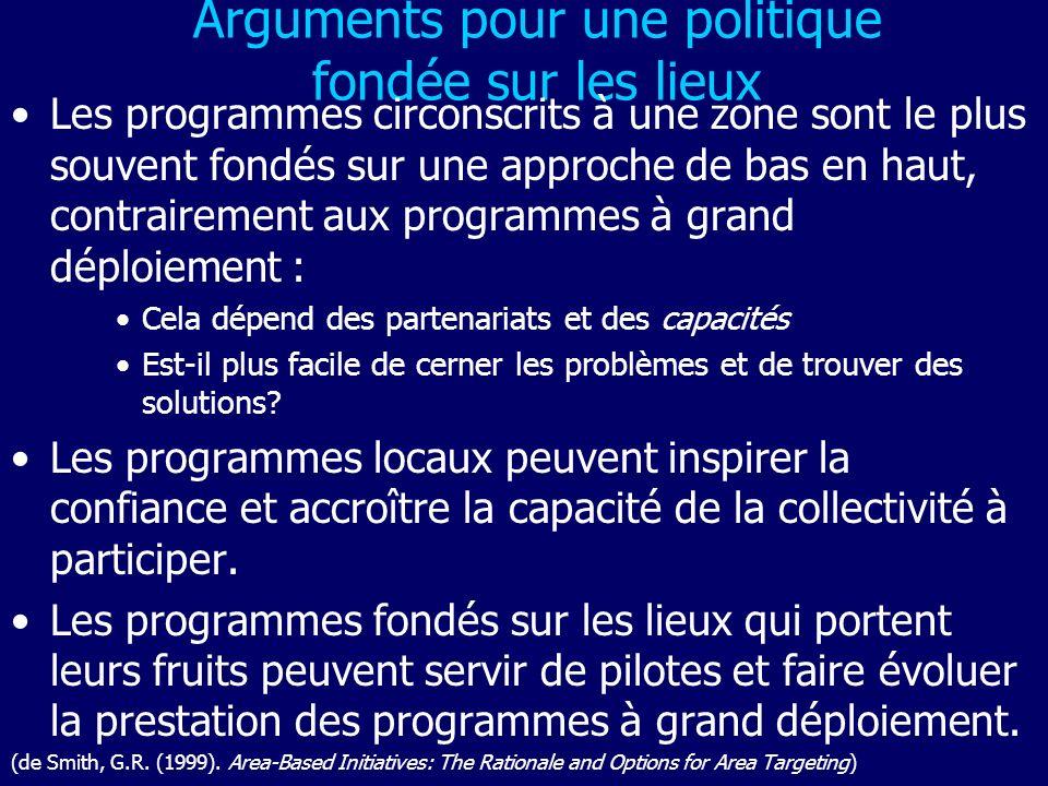 Arguments pour une politique fondée sur les lieux Les programmes circonscrits à une zone sont le plus souvent fondés sur une approche de bas en haut,
