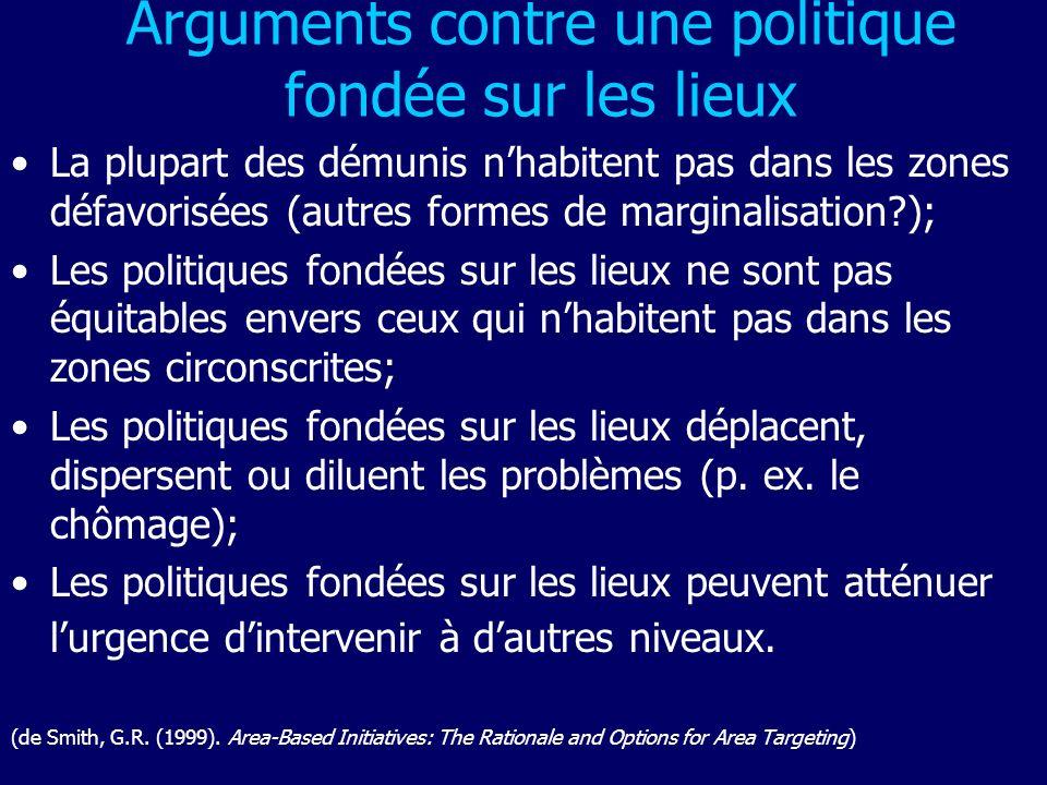 Arguments contre une politique fondée sur les lieux La plupart des démunis nhabitent pas dans les zones défavorisées (autres formes de marginalisation