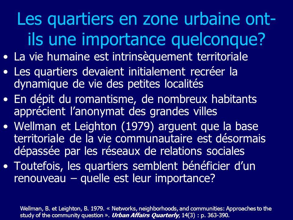 Les quartiers en zone urbaine ont- ils une importance quelconque? La vie humaine est intrinsèquement territoriale Les quartiers devaient initialement