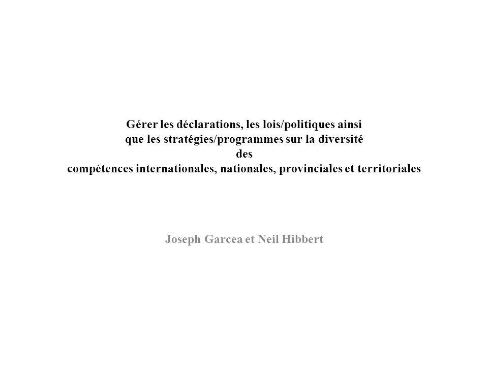 Gérer les déclarations, les lois/politiques ainsi que les stratégies/programmes sur la diversité des compétences internationales, nationales, provinci