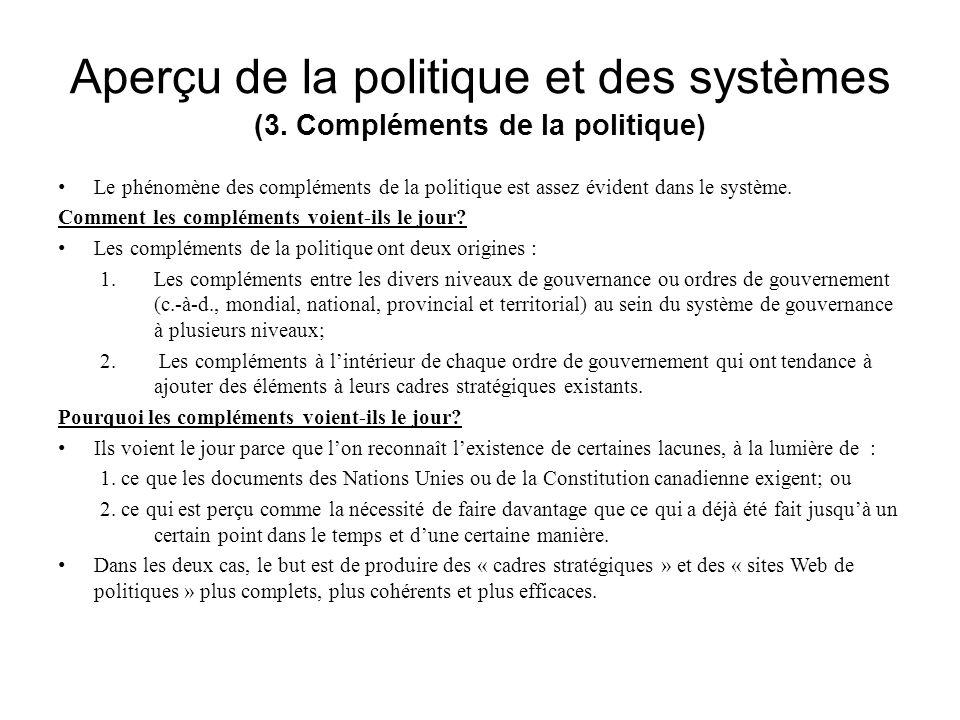 Aperçu de la politique et des systèmes (3. Compléments de la politique) Le phénomène des compléments de la politique est assez évident dans le système