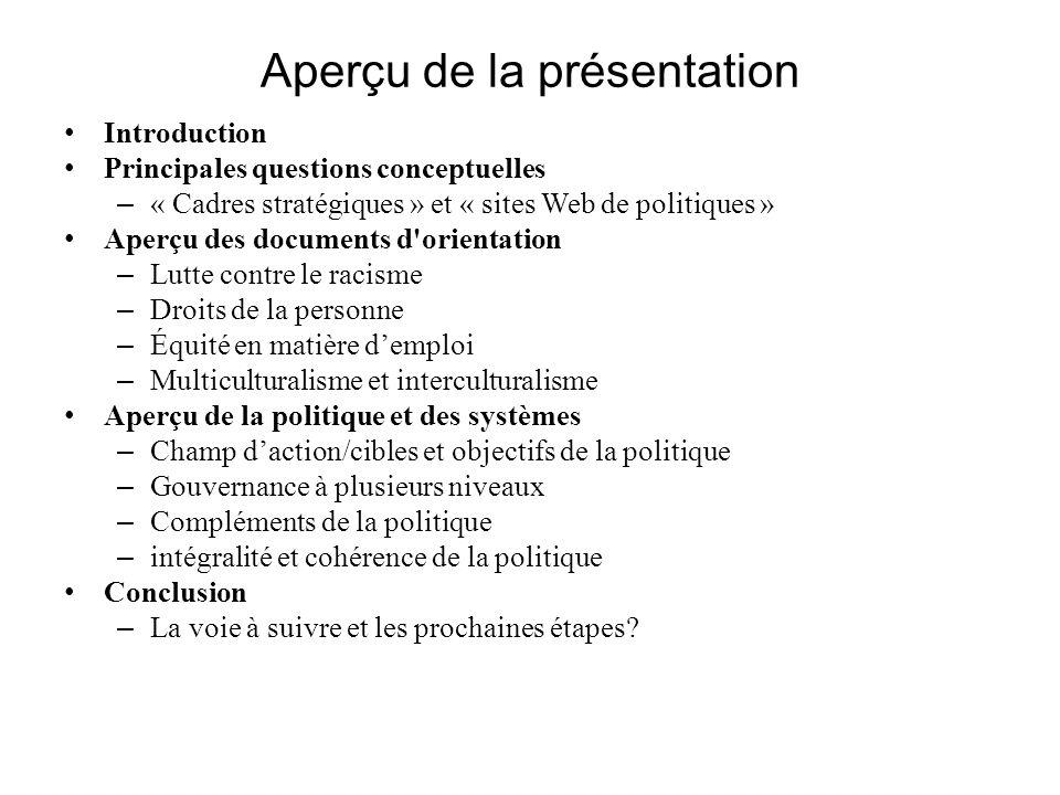 Aperçu de la présentation Introduction Principales questions conceptuelles – « Cadres stratégiques » et « sites Web de politiques » Aperçu des documen