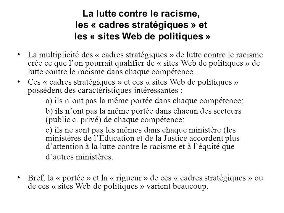 La lutte contre le racisme, les « cadres stratégiques » et les « sites Web de politiques » La multiplicité des « cadres stratégiques » de lutte contre