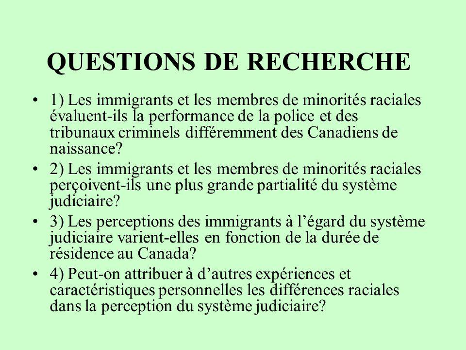 QUESTIONS DE RECHERCHE 1) Les immigrants et les membres de minorités raciales évaluent-ils la performance de la police et des tribunaux criminels différemment des Canadiens de naissance.