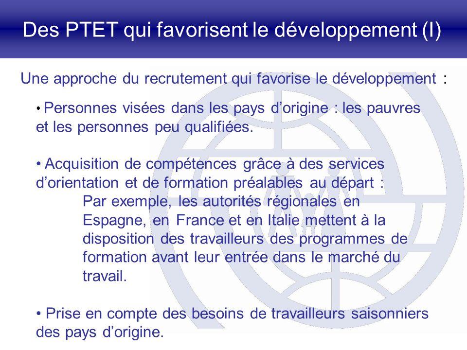 Des PTET qui favorisent le développement (I) Une approche du recrutement qui favorise le développement : Personnes visées dans les pays dorigine : les pauvres et les personnes peu qualifiées.