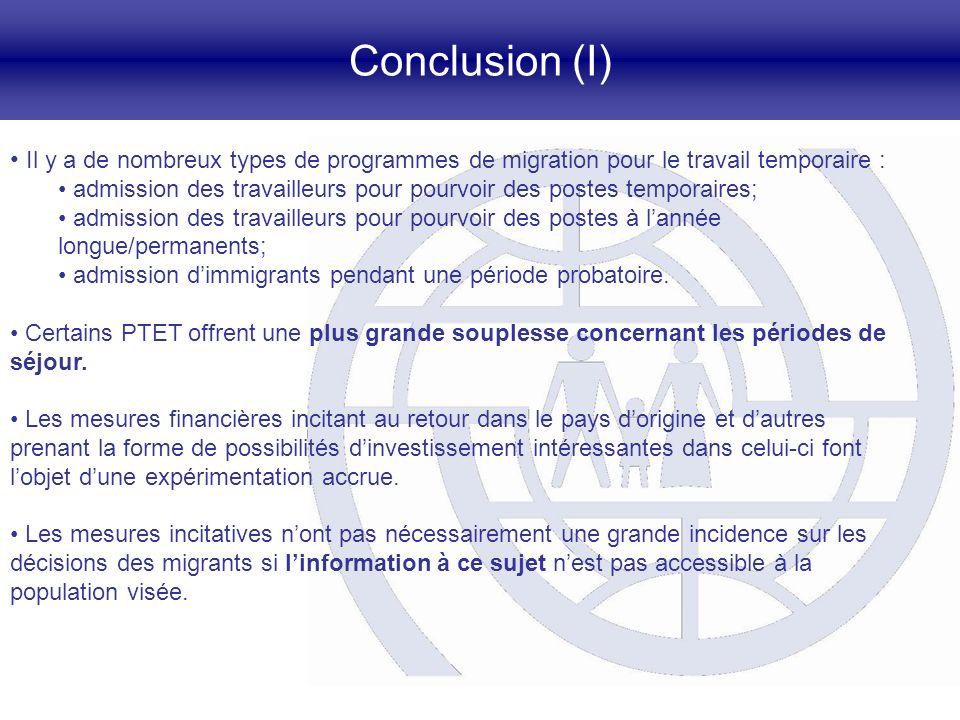 Conclusion (I) Il y a de nombreux types de programmes de migration pour le travail temporaire : admission des travailleurs pour pourvoir des postes te