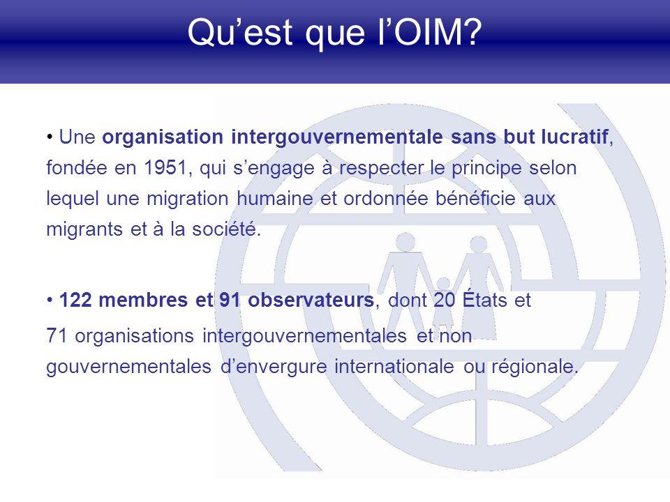 Quest que lOIM? Une organisation intergouvernementale sans but lucratif, fondée en 1951, qui sengage à respecter le principe selon lequel une migratio