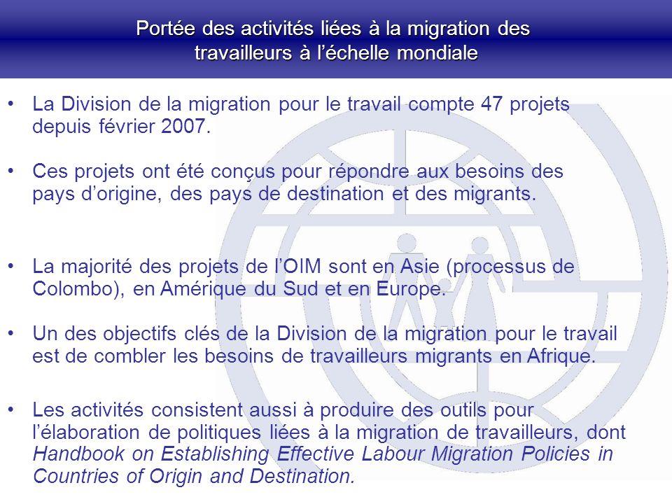 Portée des activités liées à la migration des travailleurs à léchelle mondiale La Division de la migration pour le travail compte 47 projets depuis février 2007.