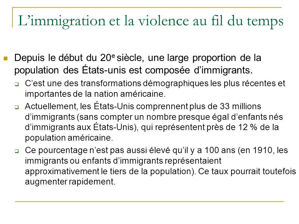 Limmigration et la violence au fil du temps Depuis le début du 20 e siècle, une large proportion de la population des États-unis est composée dimmigrants.