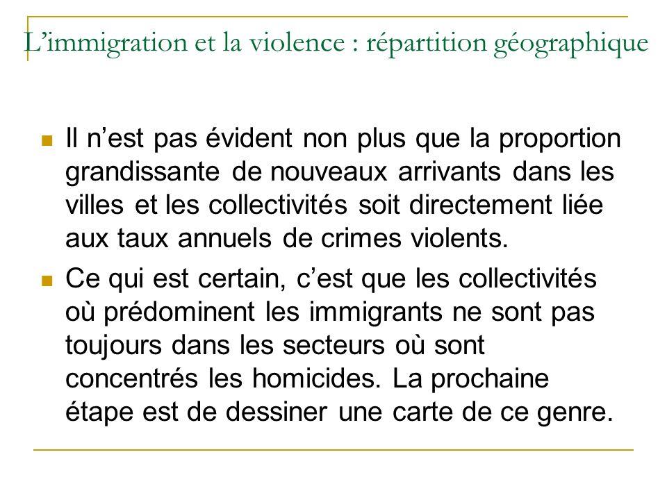 Limmigration et la violence : répartition géographique Il nest pas évident non plus que la proportion grandissante de nouveaux arrivants dans les villes et les collectivités soit directement liée aux taux annuels de crimes violents.