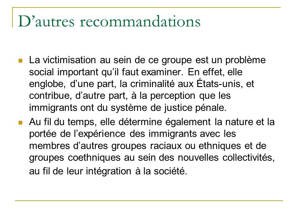 Dautres recommandations La victimisation au sein de ce groupe est un problème social important quil faut examiner.