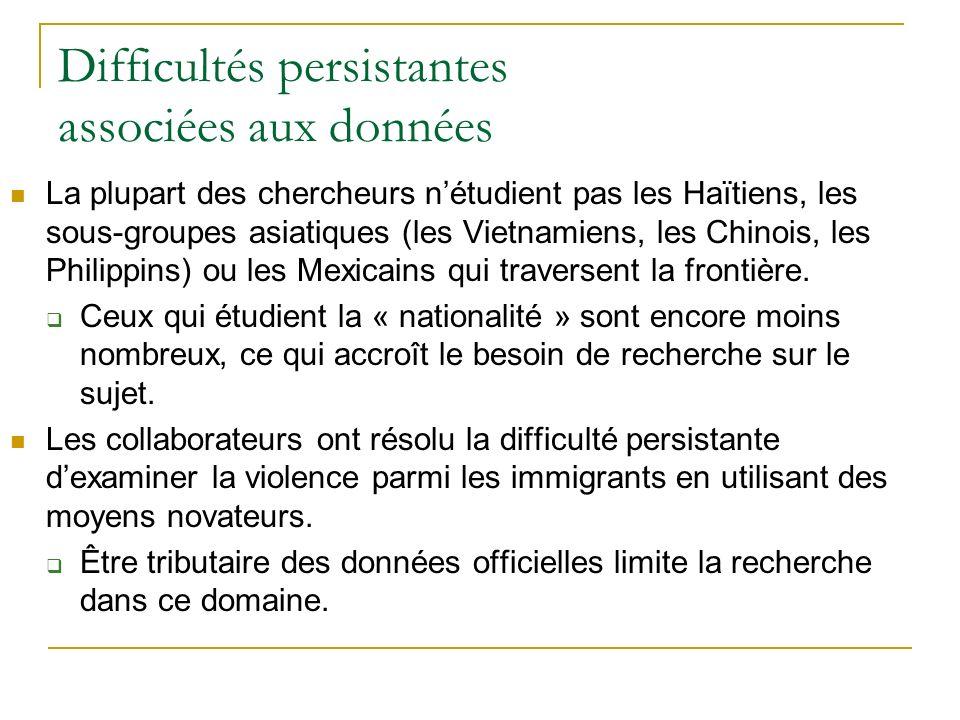 Difficultés persistantes associées aux données La plupart des chercheurs nétudient pas les Haïtiens, les sous-groupes asiatiques (les Vietnamiens, les Chinois, les Philippins) ou les Mexicains qui traversent la frontière.