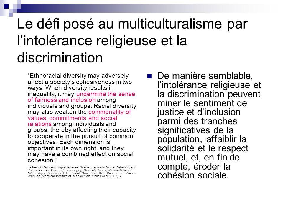Le défi posé au multiculturalisme par lintolérance religieuse et la discrimination Ethnoracial diversity may adversely affect a societys cohesiveness