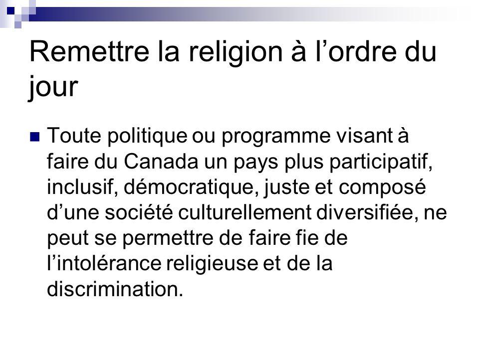 Remettre la religion à lordre du jour Toute politique ou programme visant à faire du Canada un pays plus participatif, inclusif, démocratique, juste e