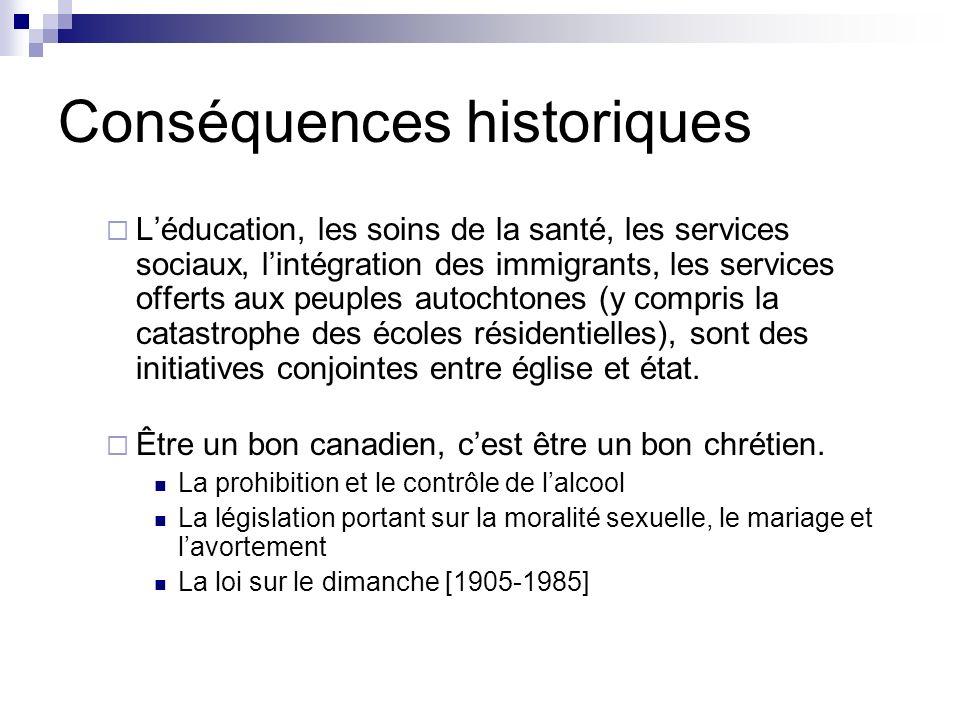 Conséquences historiques Léducation, les soins de la santé, les services sociaux, lintégration des immigrants, les services offerts aux peuples autoch