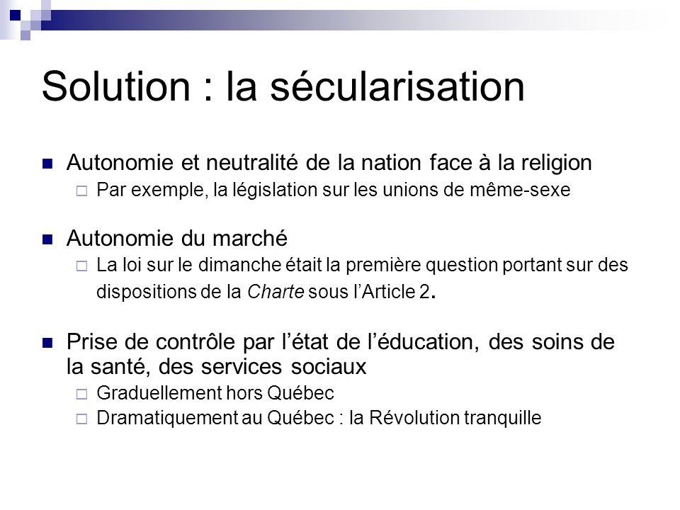 Solution : la sécularisation Autonomie et neutralité de la nation face à la religion Par exemple, la législation sur les unions de même-sexe Autonomie