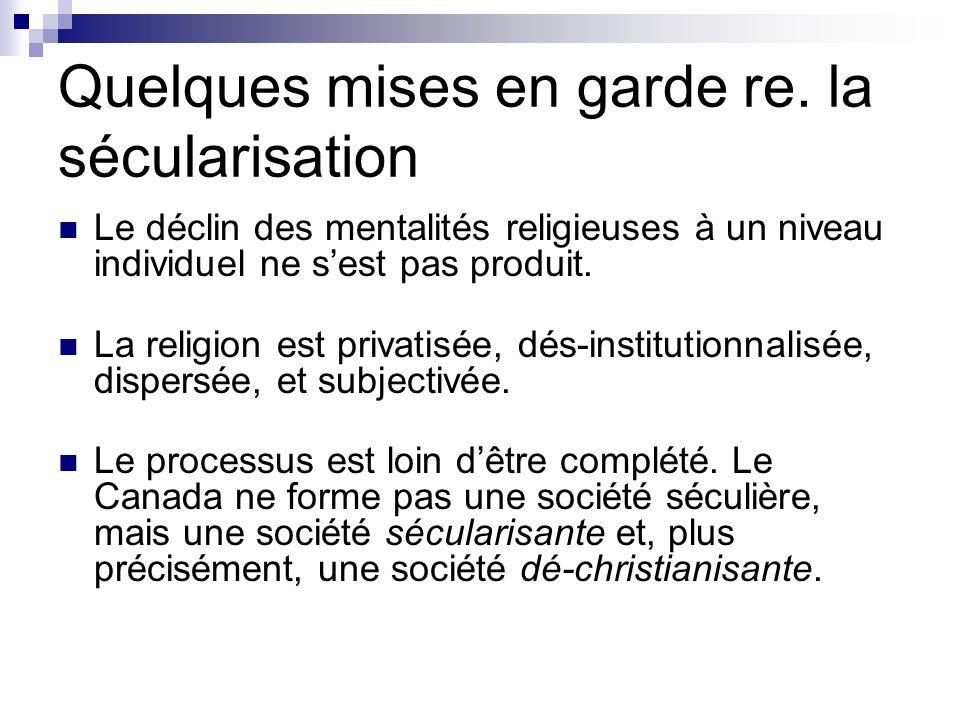 Quelques mises en garde re. la sécularisation Le déclin des mentalités religieuses à un niveau individuel ne sest pas produit. La religion est privati