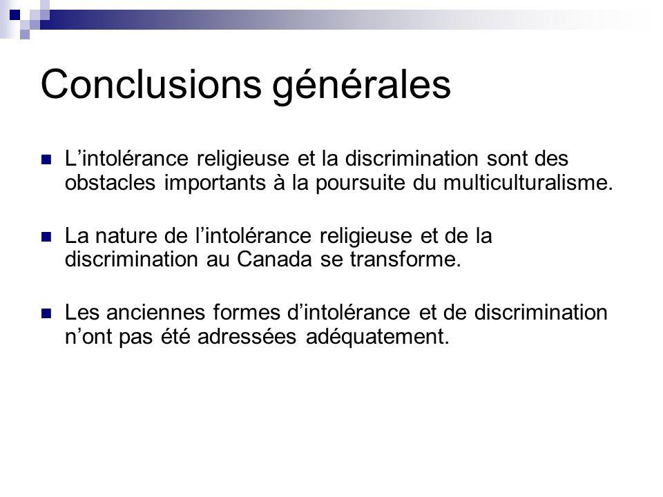 Conclusions générales Lintolérance religieuse et la discrimination sont des obstacles importants à la poursuite du multiculturalisme. La nature de lin
