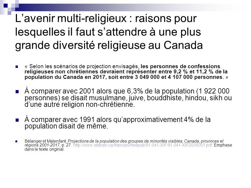 Lavenir multi-religieux : raisons pour lesquelles il faut sattendre à une plus grande diversité religieuse au Canada « Selon les scénarios de projecti