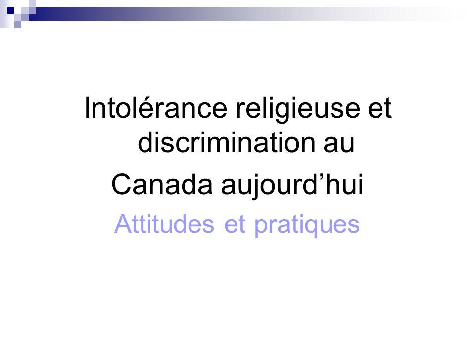 Intolérance religieuse et discrimination au Canada aujourdhui Attitudes et pratiques