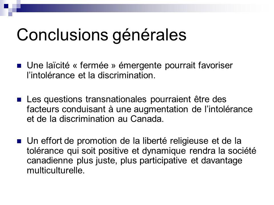 Conclusions générales Une laïcité « fermée » émergente pourrait favoriser lintolérance et la discrimination. Les questions transnationales pourraient