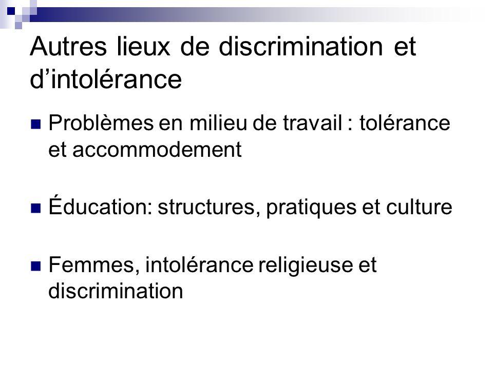 Autres lieux de discrimination et dintolérance Problèmes en milieu de travail : tolérance et accommodement Éducation: structures, pratiques et culture