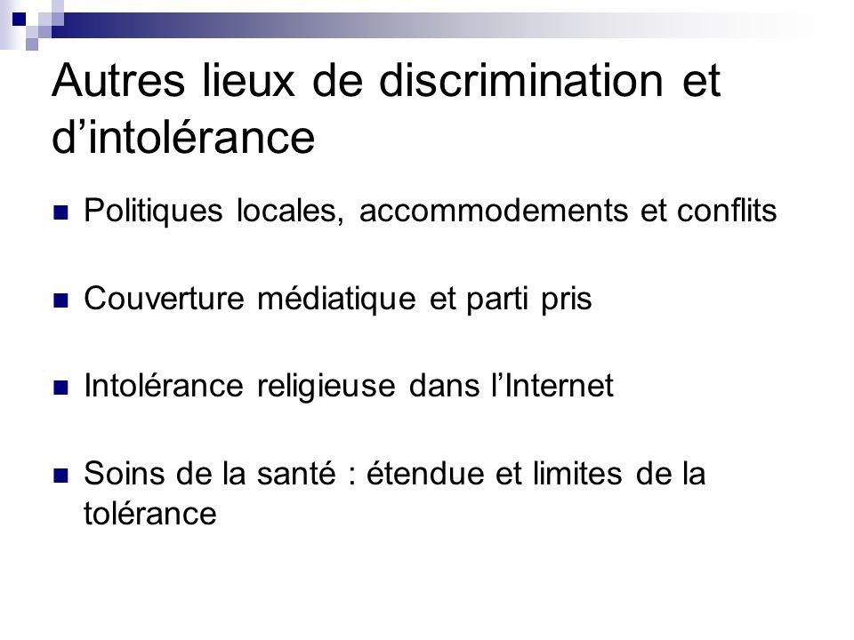 Autres lieux de discrimination et dintolérance Politiques locales, accommodements et conflits Couverture médiatique et parti pris Intolérance religieu