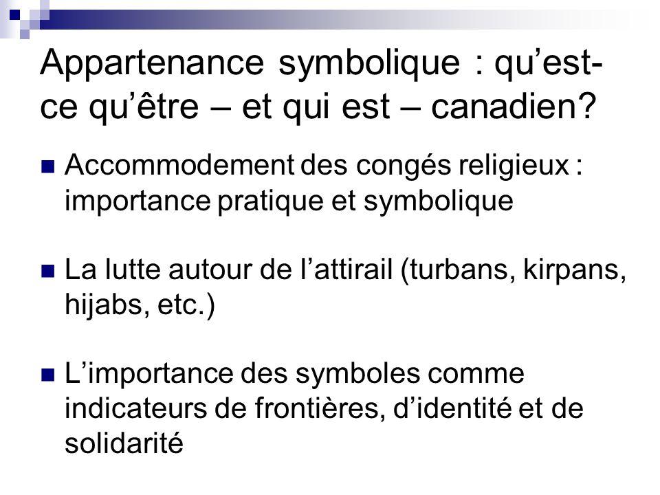 Appartenance symbolique : quest- ce quêtre – et qui est – canadien? Accommodement des congés religieux : importance pratique et symbolique La lutte au