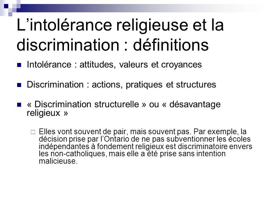 Lintolérance religieuse et la discrimination : définitions Intolérance : attitudes, valeurs et croyances Discrimination : actions, pratiques et struct