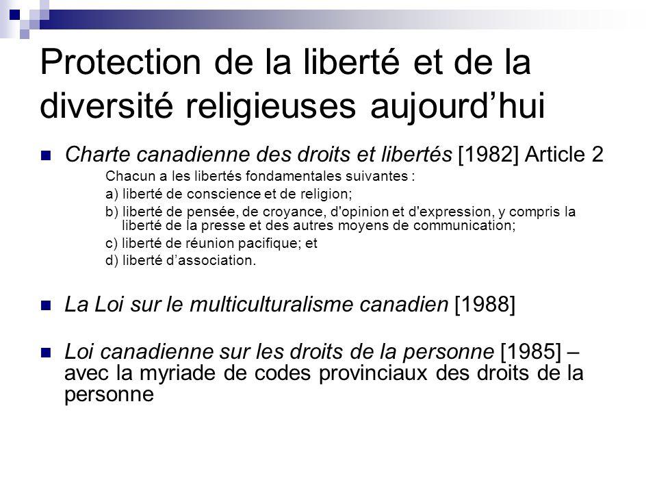Protection de la liberté et de la diversité religieuses aujourdhui Charte canadienne des droits et libertés [1982] Article 2 Chacun a les libertés fon