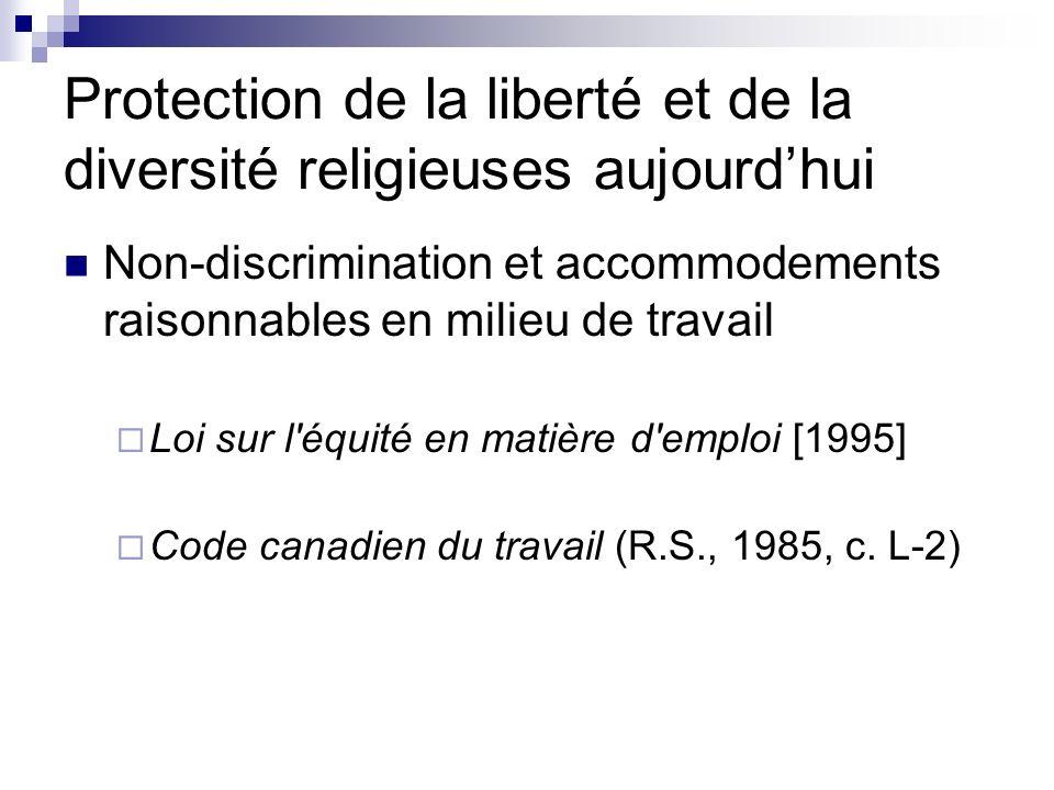 Protection de la liberté et de la diversité religieuses aujourdhui Non-discrimination et accommodements raisonnables en milieu de travail Loi sur l'éq